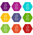 large pot cactus icons set 9 vector image vector image