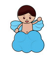 love cute cupid in cloud waving hand vector image vector image