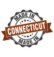 made in connecticut round seal vector image vector image