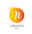 n letter logo design n icon colorful and modern vector image