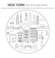 new york line icon circle concept vector image vector image