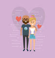 nice couple together with heart design background vector image vector image