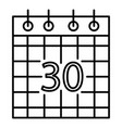 paper calendar icon outline style vector image