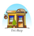 pet shop or animal store building facade vector image vector image