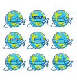 planet earth cartoons wearing protective face mask vector image vector image