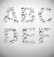 Realistic Water Drops Font from A to F vector image vector image