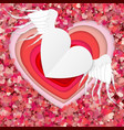 red and white paper hearts isolated on red vector image