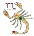 Scorpio zodiac sign retro vector image
