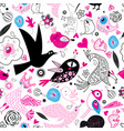 seamless multi-colored pattern of enamored birds vector image