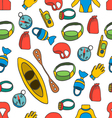 seamless pattern with equipment for kayaking-4 vector image vector image