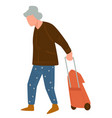 senior character walking with suitcase traveling vector image vector image