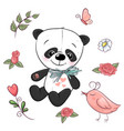 Set little panda and flowers hand drawing