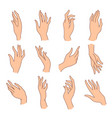 set minimalistic colored female hands art vector image vector image
