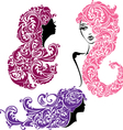 Set of Glamour girls with floral ornament vector image