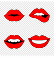 set of red womans lips lips set lips in flat vector image