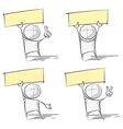 Simple People Holding Up a Label vector image vector image