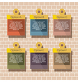 Square Banners Hang On Brick Wall vector image vector image