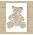 stencil template of bear on wooden background vector image vector image