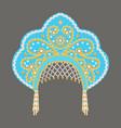 stock russian national headdress kokoshnik with vector image