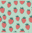 strawberry seamless pattern summer food vector image