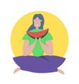 tasting watermelon flat girl vector image vector image