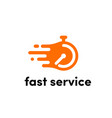 time clock logo fast express service vector image