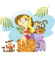 Tropical girl sitting on a suitcase vector image
