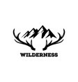 vintage mountain and deer horn logo vector image