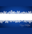 white christmas snowflake on blue background vector image vector image