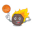 with basketball meteorite character cartoon style vector image