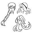 women hairstyles vector image vector image