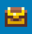wooden box locked castet with wealth gold pixel vector image