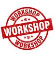 workshop round red grunge stamp vector image vector image