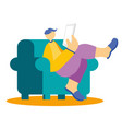 young freelancer working at home office relax vector image