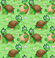 Seamless pattern with cartoon turtles vector image