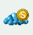 color pixelated cloud with golden coin vector image