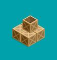 flat isometric wood box set vector image