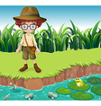 A serious looking boy at the riverbank vector image vector image