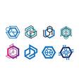 abstract geometric hexagon technology logo design vector image vector image