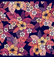 autumn floral seamless pattern with hibiscus vector image