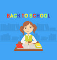 back to school banner template with cute girl vector image