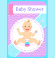 bashower greeting card eight month child sits vector image vector image