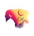 beautiful eid mubarak festival greeting vector image vector image