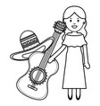 beautiful mexican woman with hat and guitar vector image