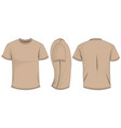 beige t-shirt template in front side and back vector image