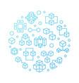 blockchain technology circular blue line vector image
