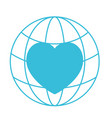 blue color silhouette of world globe and heart vector image vector image