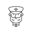 captain with nautical hat concept thin line vector image
