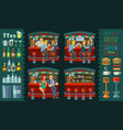 cartoon of icons for bar interior vector image vector image