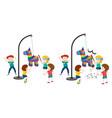 children hitting pinata game vector image